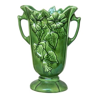 Camark 801m Floral - Morning Glory Green Handle Vase For Sale