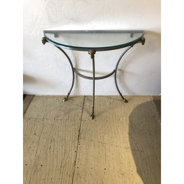 Maison Jansen Style Steel & Brass Demilune Console With Rams Heads For Sale - Image 11 of 11