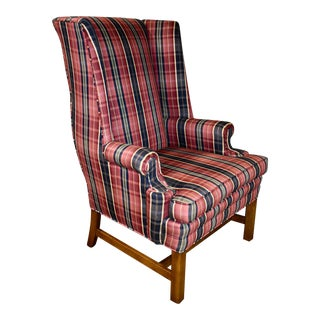 Chippendale Style Wing Chair W/Stretcher Base and Traditional Plaid Fabric For Sale