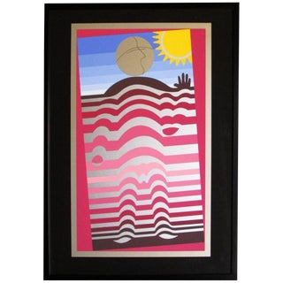 Colorful Framed Lithograph by Arthur Secunda For Sale