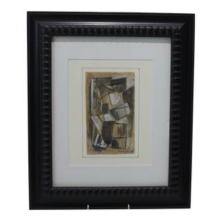 Jacques Villon Cubist Painting Using Multimedia For Sale