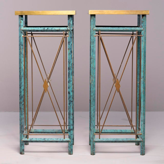 1960s Neoclassical Style Verde Green Metal Statue Stands - a Pair For Sale - Image 5 of 13