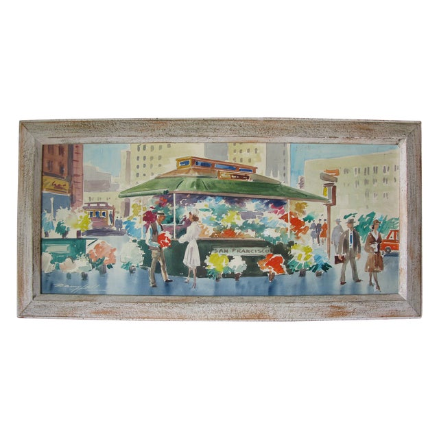 Danny Hall Mid-Century San Francisco Watercolor Painting - Image 1 of 5