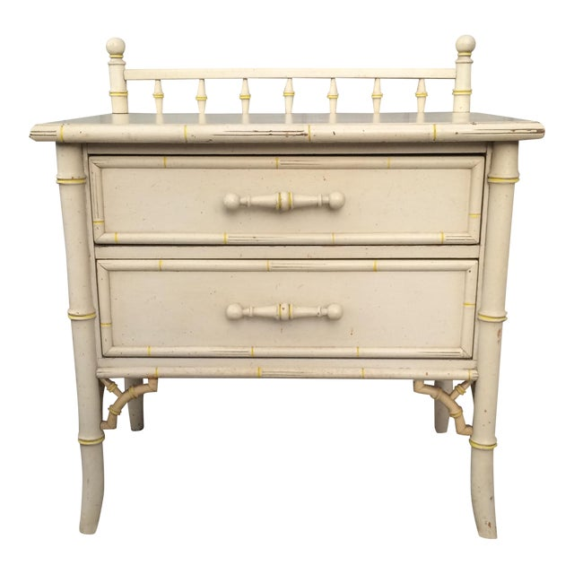 Faux Bamboo Chinoisere Two Drawer Nightstand Side Table - Image 1 of 6