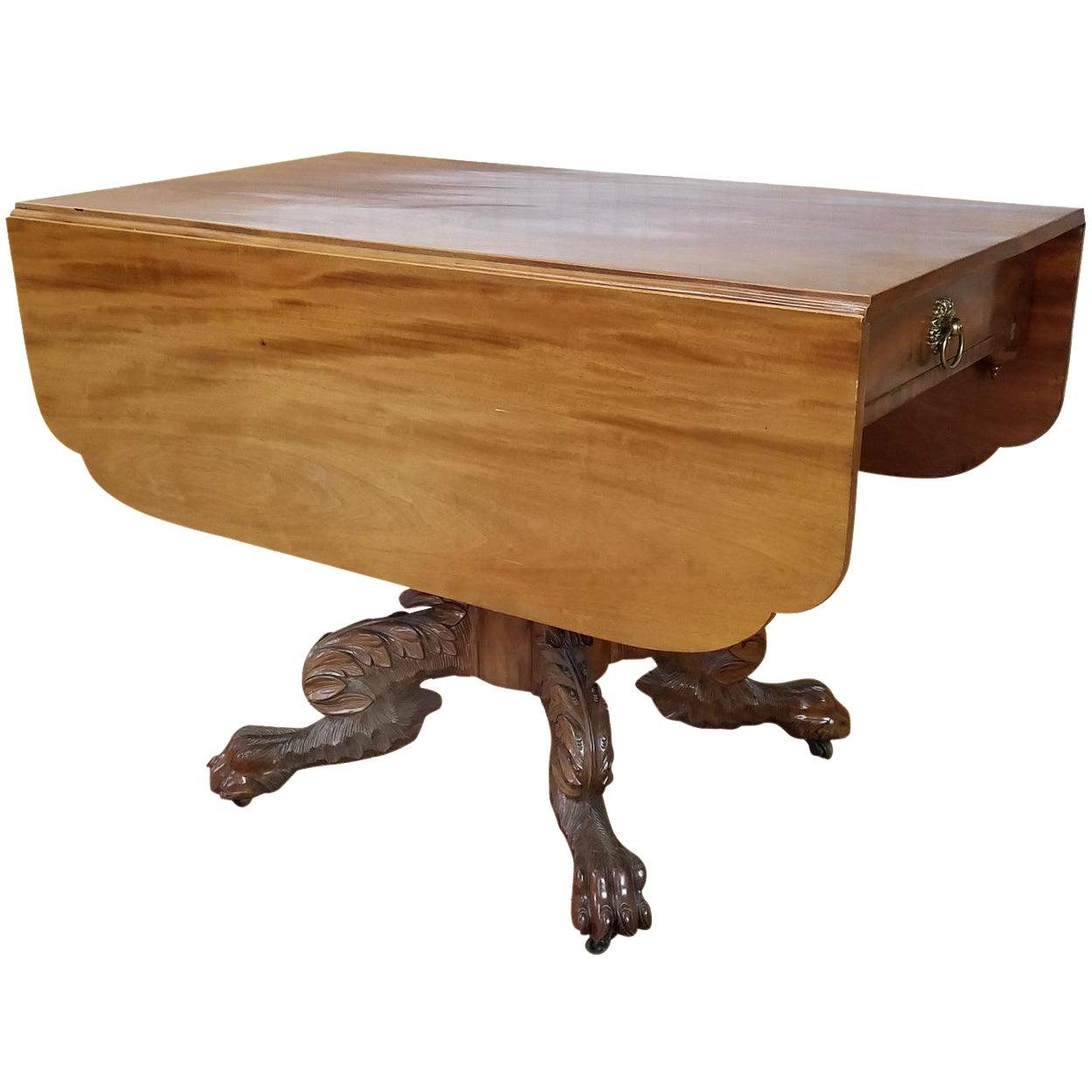 Antique American Empire Classical Mahogany Drop Leaf Table School Of