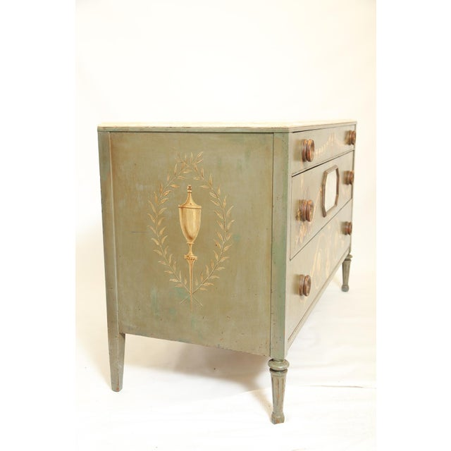 Hand-Painted Italian Commode With Églomisé Plaque For Sale - Image 9 of 10
