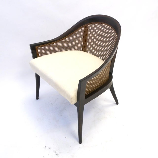 Harvey Probber Stunning Harvey Probber Cane and Mahogany Occasional Armchair For Sale - Image 4 of 5