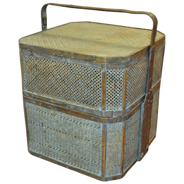 Green Woven Rattan Basket Side Table For Sale