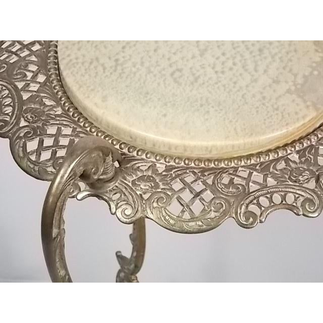 Vintage Victorian Style Brass & Marble Top Filigree Stand For Sale - Image 6 of 10