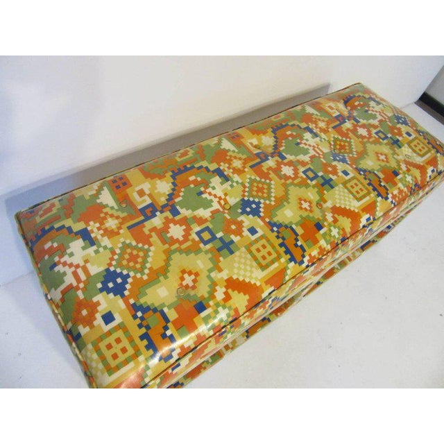 Oil Cloth Upholstered Bench For Sale - Image 4 of 7