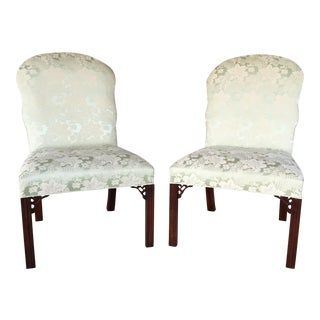 Hickory Chair Mahogany Chippendale Style Fireside Accent Chairs - a Pair