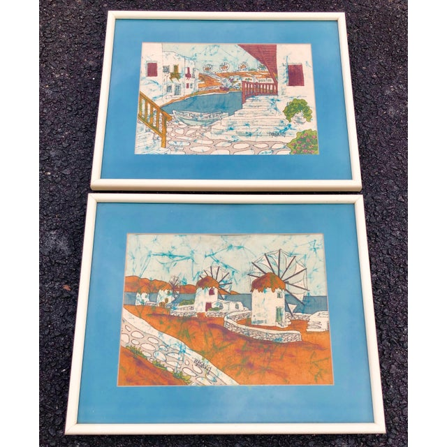 Glass Vintage Greek Framed Batik and Cloth Paintings of Mykonos Windmills- a Pair For Sale - Image 7 of 12