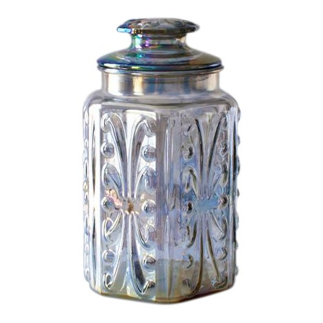 Iridescent Carnival Glass Canister For Sale