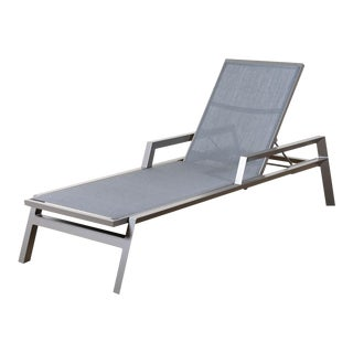 Silver and Carbon Grey Trig Arm Chaise Silver For Sale