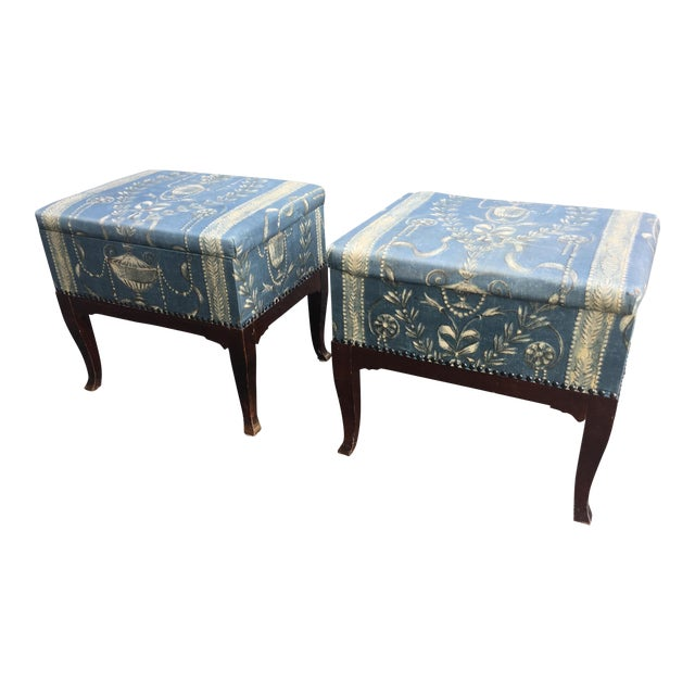 Vintage Mid Century Upholstered Storage Sewing Ottomans- A Pair For Sale