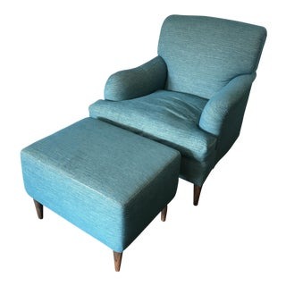 Custom Made Chair & Ottoman by Stitch NYC - A Pair