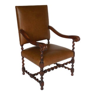 Custom Walnut and Leather Spiral Twist Armchair with Scrolled Arms For Sale