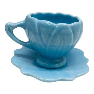 Vintage Sky Blue Tea Cup and Saucer For Sale