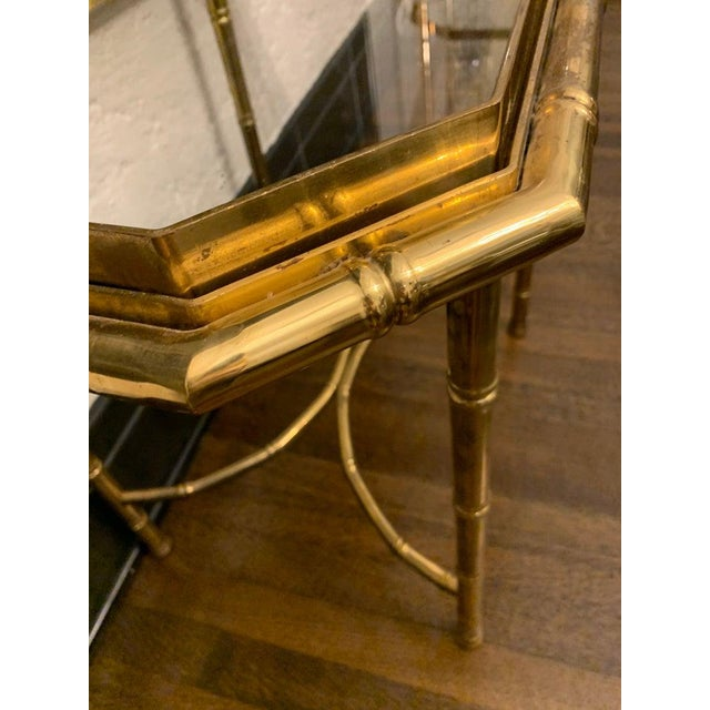 Metal Vintage Hollywood Regency Brass Bamboo Tray Table For Sale - Image 7 of 11