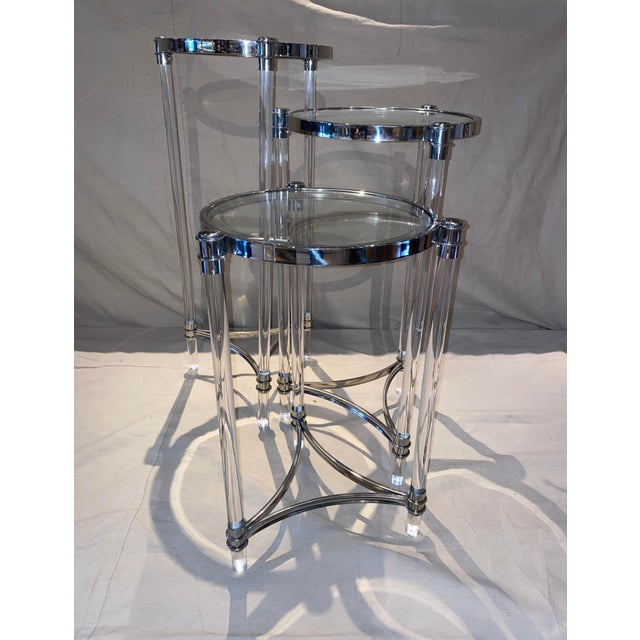 Contemporary Lucite, Chrome and Glass Nesting Tables - Set of 3 For Sale - Image 4 of 6