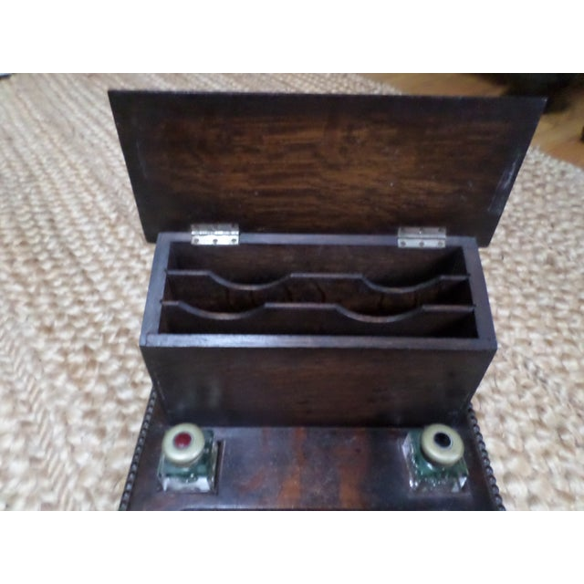 English Oak Letterbox and Inkstand For Sale In Philadelphia - Image 6 of 13