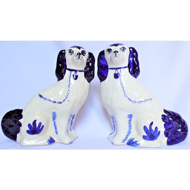 Shabby Chic Vintage Blue and White Ceramic Staffordshire Dogs - a Pair For Sale - Image 3 of 11
