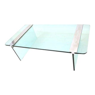 Mid-Century Modern Pace Collection Glass & Aluminum Coffee Table