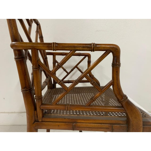 Chinese Chippendale Style Faux Bamboo Arm Chair For Sale In New York - Image 6 of 9