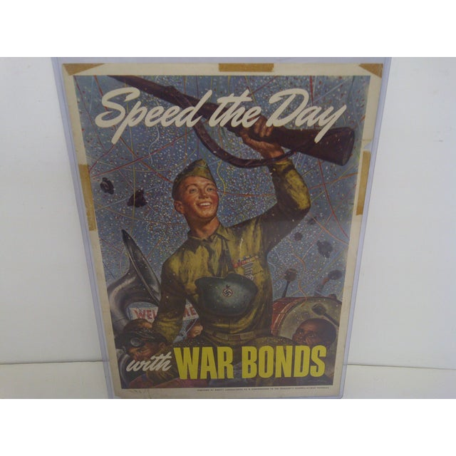 Mid-Century Modern Vintage WWII War Bonds Poster For Sale - Image 3 of 8