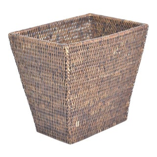Artifacts Rattan Rectangular Taper Waste Basket For Sale