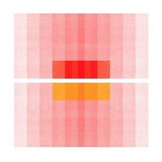 """Color Space Series 27: Pink, Red, Yellow"" Abstract Print by Jessica Poundstone, 30""x30"""