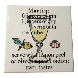 Vintage Antique Piero Fornasetti Rare Martini Recipe Tile Trivet For Sale