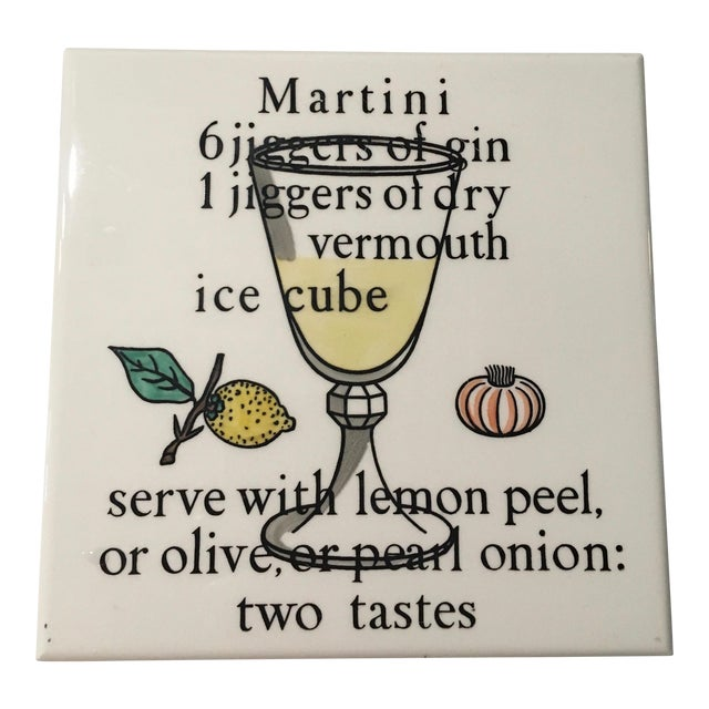 Vintage Antique Piero Fornasetti Rare Martini Recipe Tile Trivet For Sale