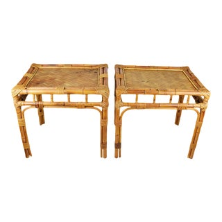Rectangular Brown Bamboo Rattan Wrapped Side Tables After Franco Albini - a Pair For Sale