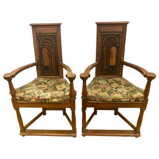 Antique French Gothic Armchairs Chairs With Original Tapestry Upholstery For Sale