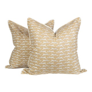 Schumacher Leaping Leopard Pillows, a Pair For Sale