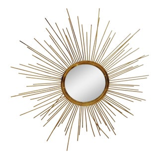 1980s Gold Starburst Twisted Metal Wall Mirror For Sale