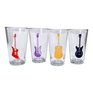 Pop Art Guitar Glasses Pint Drinking Glasses - Set of 4 For Sale