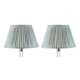 Fermoie Gathered Linen Lampshade in Blue Figured, 6 Inch, Set of 2 For Sale