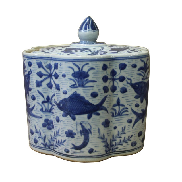 Chinese Blue White Flower Shape Porcelain Fishes Flowers Accent Jar For Sale - Image 4 of 7