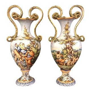 Pair of Italian Faience Porcelain Vases with Snake Handles
