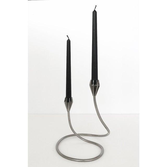 1970s Chrome Flexible Gooseneck Sculptural Candlestick For Sale - Image 5 of 9