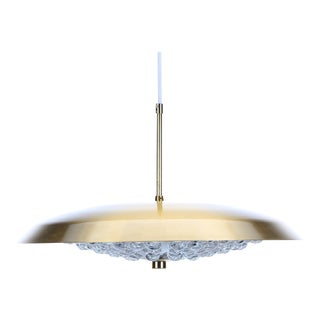 Scandinavian Midcentury Carl Fagerlund for Lyfa W. Orrefors Crystal Ceiling Pendant For Sale