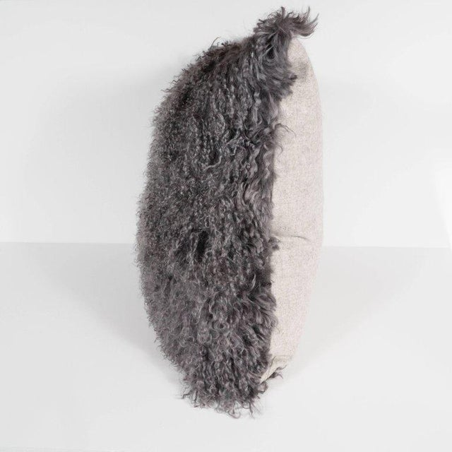Custom Handmade Mongolian Lamb Pillow in Slate Gray with Cashmere Wool Back For Sale In New York - Image 6 of 11