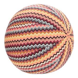 "Vintage Missoni Classic Chevron Ball Pillow, 11"" Diameter For Sale"