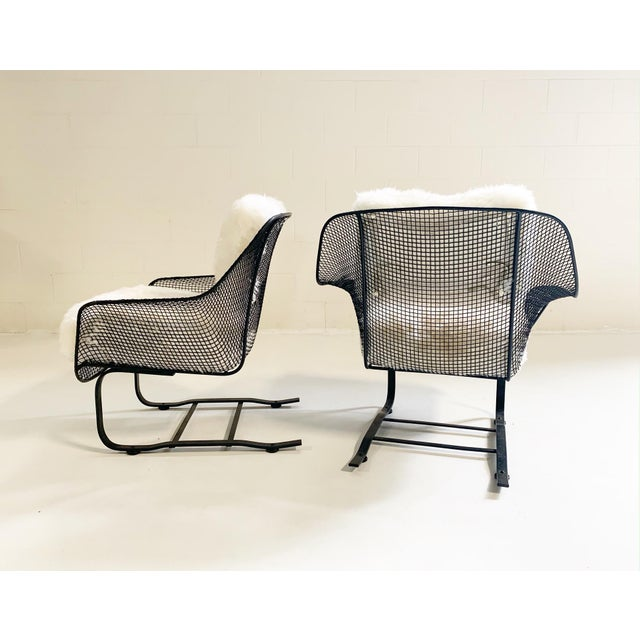 Russell Woodard Sculptura Lounge Chairs and Ottoman With Sheepskin Cushions For Sale - Image 9 of 10