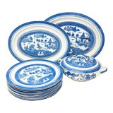 Image of Antique Blue & White Canton Pattern China Collection For Sale