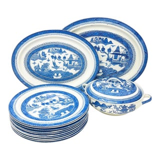 Antique Blue & White Canton Pattern China Collection - Set of 14 For Sale