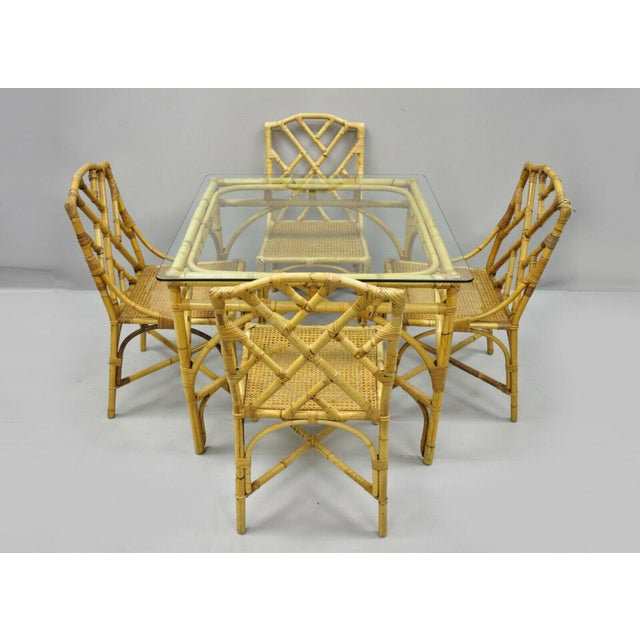 Chinese Chippendale Boho Chic Bamboo Rattan Faux Bamboo Dining Set - 5 Pieces For Sale - Image 13 of 13