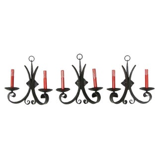 Cast Iron Gothic Sconces With Red Candlesticks - Set of 3 For Sale
